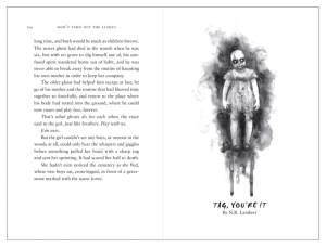 "Title page for ""Tag, You're It"" featuring black and whit illustration (by Iris Compiet) of a creepy baby doll."